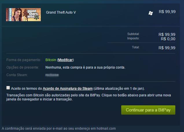 Reprodução: Steam steam: agora é possível comprar jogos com bitcoins