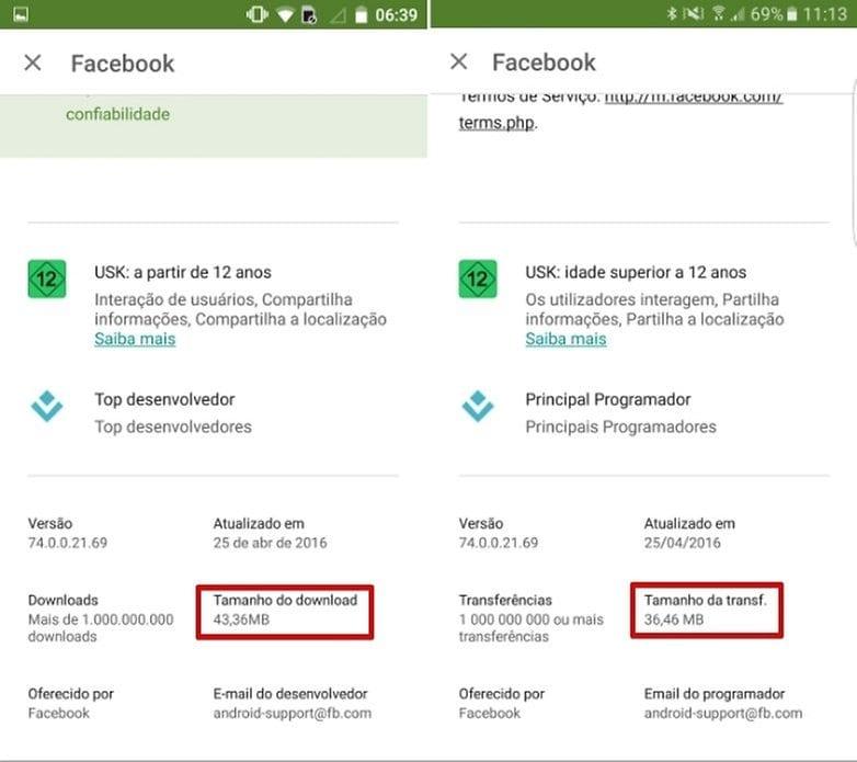 Google Play google play agora mostra o tamanho da atualização de aplicativos