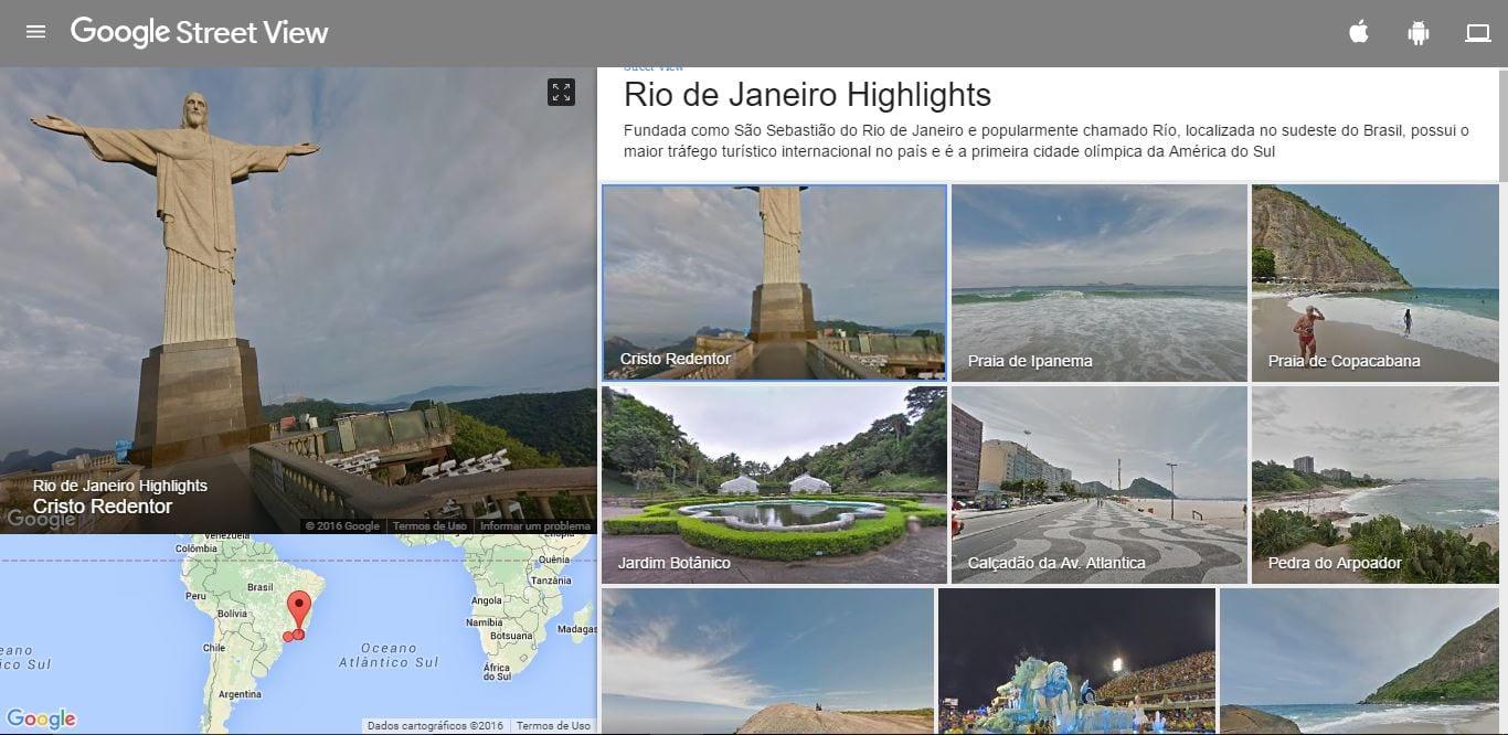 Rio 2016 rio 2016: passeie pelo cristo e outros lugares com o google street view