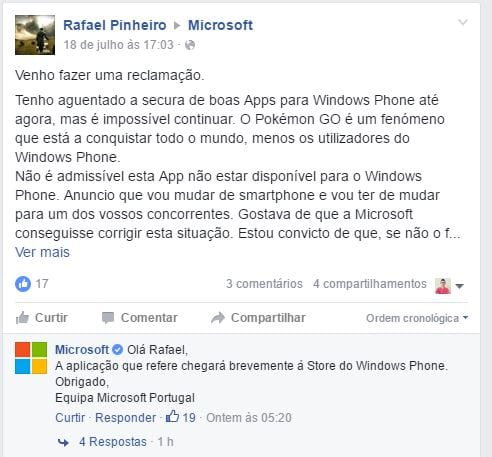 Pokémon Go microsoft afirma que pokémon go chegará para windows phone em breve