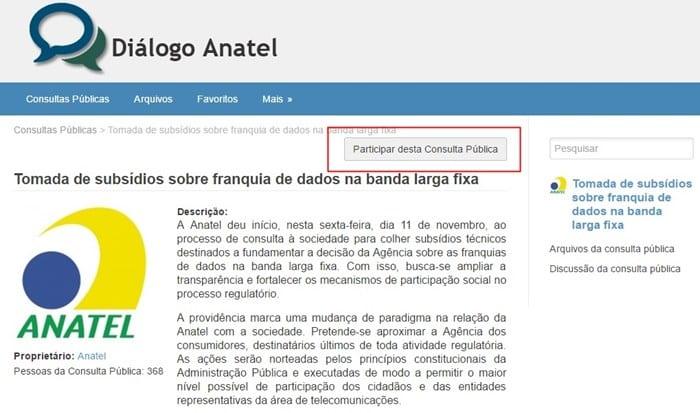 Anatel anatel abre consulta pública para debater limite de internet
